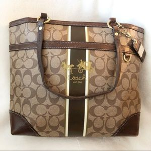 COACH Heritage Stripe Brown Coated Canvas Tote Bag